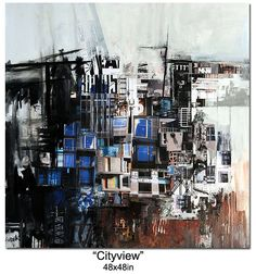 """City view"". Mixed media, paper, paint on gallery wrapped canvas. 48x48 in.  www.hudekart.com"