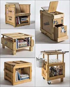 Mesitas utiles y economicas con cajas de madera reciclada