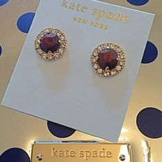 """HOST PICK Kate Spade basket pave earrings Stones that appear like dark wood are encircled by dazzling crystals in a gold setting for a dressy casual look. Sport a gregariously gorgeous bouquet with the sparkling Kate Spade New York™ Secret Garden Stud Earrings!! 12K gold-plated metal. Epoxy stone centerpiece with clear crystals perimeter detail. Stud back. Imported. Width: 1 """" 2 in. Height: 1 """" 2 in kate spade Jewelry Earrings"""