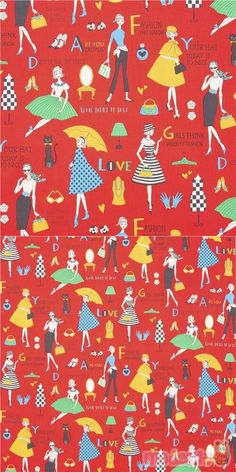 Fashionista Red Japanese Smooth Cotton, cotton red shirting fabric with alphabet phrases about fashion, illustrated women posing in multicolor dresses, specially imported from Japan from small makers, 100% cotton, very well made fabric, typical perfect Japanese quality #Cotton #Retro #People #Letters #Numbers #Words #JapaneseFabrics