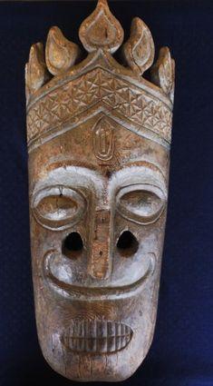 Large Himalayan crowned mask, India/Nepal Art Premier, Himalayan, Tribal Art, Handmade Wooden, Deities, Headdress, Nepal, Crowns, Masks