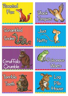 Gruffalo story food cards custom designed to match the party theme 5th Birthday Boys, Kids Birthday Themes, Birthday Cards For Boys, 4th Birthday Parties, Gruffalo Activities, Gruffalo Party, The Gruffalo, Iron On Labels, Party Food Labels