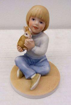 FRANCES HOOK FOR A MOTHERS LOVE Boy Holding Rabbit 1986 Bunny Roman Figurine