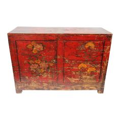 Vintage Red Painted Floral Cabinet on Chairish.com
