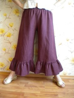 Ruffle Linen Pants Bloomers Burgundy  made to order. $41.96, via Etsy.