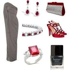 A fashion look from March 2012 featuring Donna Karan gowns, Christian Louboutin sandals and Stewart/Stand clutches. Browse and shop related looks.
