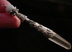 Natural Fancy Silver Edwardian Lemurian Crystal Point Pendant Pendulum - Crystal Chrysalis