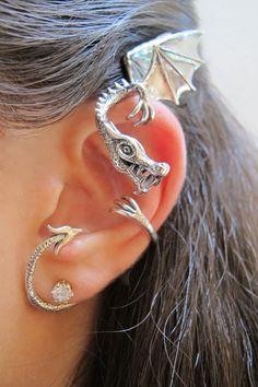 Silver Elfin Dragon #gothic #jewellery
