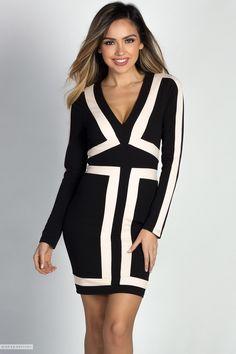 Black Long Sleeve V Neck Mini Dress with Nude Colorblocked Pattern