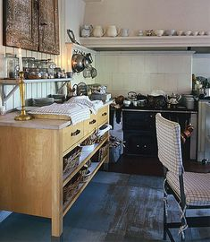 A practical and comfortable country kitchen in Sweden.