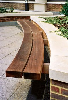Hardwood Timber Seat Type 4 wall seat, outdoor seating by Woodscape. Timber #outdoor #furniture #landscaping Curved seat