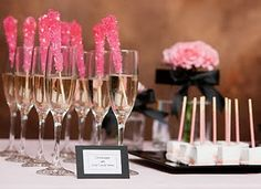 Pink rock candy + champagne