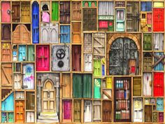 Gecko Rouge are proud to announce that we have teamed up with Colin Thompson to bring you delightful modern cross stitch kits Measures 14 count 74 00 Wooden Puzzles, Jigsaw Puzzles, Thompson, Illustrator, Ciel Nocturne, The Doors Of Perception, Wall Decals, Wall Art, Desktop Pictures