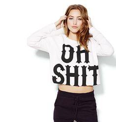 "Cropped ""Oh Shit"" Sweatshirt."