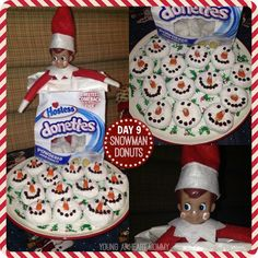 Elf On The Shelf - Day 9: Snowman Donuts! #ElfOnTheShelf #ElfOnTheShelfIdeas #Holidays #Tradition #Elf #SnowmanDonut #Snowman http://www.youngatheartmommy.com/2013/12/25-days-of-elf-on-shelf-days-1-6.html