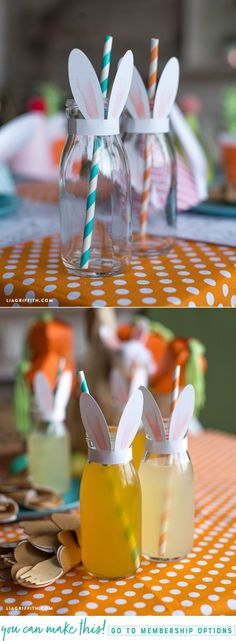 Bunny Ears Easter Drink Toppers | Easter Decor Ideas by LiaGriffith.com #easterideas #easterdiy #easter #kidseaster #papereaster