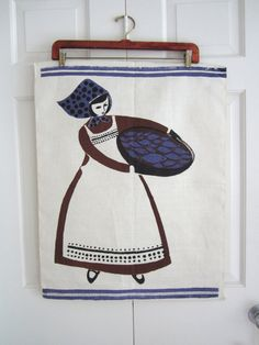 Vintage Towel Mid Century Wall Hanging Woman Fish Tray at NeatoKeen. Hand printed.