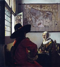 Jan Vermeer Van Delft Officer And A Laughing Girl Poster  Did Vermeer use a camera obscura to create such realistic paintings???