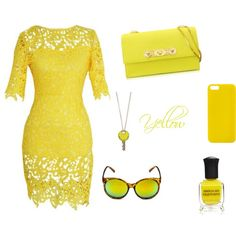 Yellow by unicornslifeever on Polyvore featuring Versace, MARC BY MARC JACOBS, Happy Plugs and Deborah Lippmann