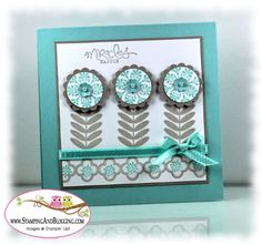 sweet handmade card ... Madison Avenue Stamp Set ... three stylized flower made with punching and stamping ... like how the aqua, gray & white colors work together so well ... nice balance in use of color ... Stampin' Up!