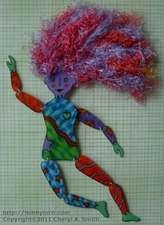 """Shrinky dink art doll ~ """" I used a regular black sharpie marker and colored pencils. I punched a row of holes across the top of her head before shrinking, and attached colorful fibers to create her hair.  The body sections were joined using silver jump rings. This art doll measures just over 7"""" tall.""""  Free Pattern is located on Shrinky Dink Board."""