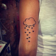 Cloud and Heart Rain Tattoo