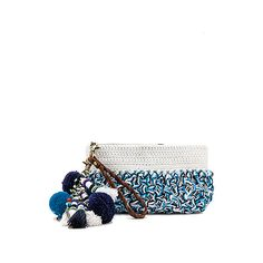 Elliot Mann Dune Pouch ($195) ❤ liked on Polyvore featuring bags, handbags, clutches, white beaded purse, tassel purse, crochet handbags, crochet purse and handbag purse