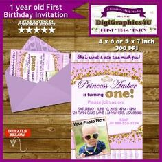 Princess First Birthday One Year Old Baby Girl by DigiGraphics4u by DigiGraphics4u
