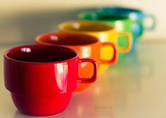 Color Somewhere Over the Rainbow! rainbow mugs Taste The Rainbow, Over The Rainbow, Rainbow Things, True Colors, All The Colors, Bright Colors, Coffee Shop, Coffee Cups, Coffee Coffee