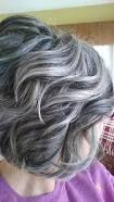 Výsledek obrázku pro transition to grey hair with highlights