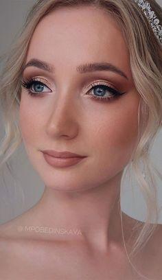 Bridal Makeup For Fair Skin, Gold Wedding Makeup, Bride Makeup Natural, Pale Skin Makeup, Wedding Makeup For Brown Eyes, Bridal Makeup Looks, Blush Makeup, Vintage Wedding Makeup, Natural Wedding Makeup Looks