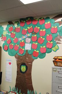 My name tags for cubbies, hooks and in/out board are apples.  I like the idea of an apple tree mural with each child's name and birthday on their own apple.  Fun birthday chart...