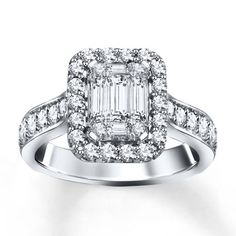 Jared - Diamond Engagement Ring 1 ct tw Round/Baguette 14K White Gold