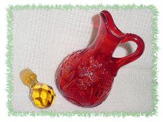 AMBERINA Glass ~ Daisy Star Diamond Pattern ~ 1960s Blown Pattern Glass Ruby Red Cruet - FREE SHIPPING by FindMeTreasures on Etsy