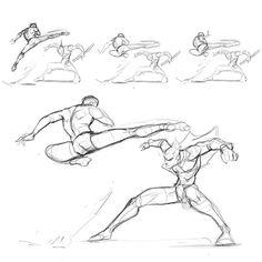 """3,132 Me gusta, 13 comentarios - Ricardo Rodrigues (@waveloop) en Instagram: """"Loosing up... #sketchbook #sketch #action #sketching #spinkick #Comicart #fight #drawing…"""""""