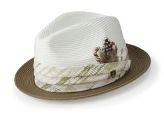 da02e354bda8b Montique Olive Two Tone Snap Brim Braided Pinch Fedora Hat H1847