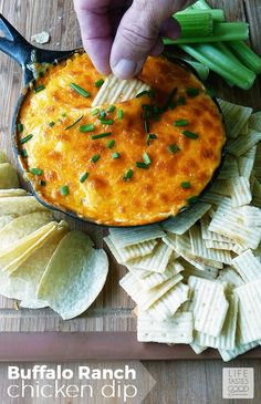 Buffalo Ranch Chicken Dip | by Life Tastes Good is a tangy, creamy dip that tastes like Buffalo Chicken Wings and ranch dressing all mixed into one delicious dip! This dip is super easy to make and a must for the Big Game! @walmart #BigGameSnacks #ad