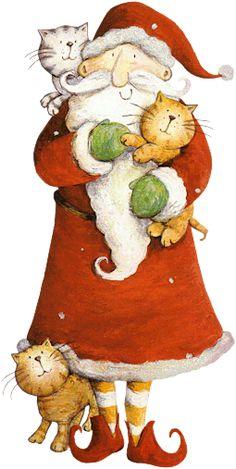 ❥ ✿ レ o √ 乇 !! ✿ ❥   Is this Santa bringing us more cats? Or, is it Santa being welcomed by our cats as he delivers our presents? ;)