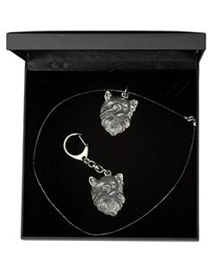 NEW, Chihuahua (long haired), dog keyring and necklace in casket, DELUXE set, limited edition, ArtDog * Details can be found by clicking on the image.