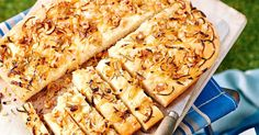 This caramelised onion, walnut and rosemary foccaccia is perfect for a picnic.