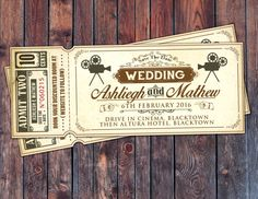 Art DecoVintage Retro Save the Date Ticket Announcement, wedding invitation, wedding shower, old Hollywood , Cinema, retro cinema ticket 183kr