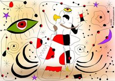 a couple dancing waltz in a Joan Miró world