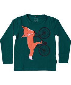 Name It cute dark green T-shirt with fun cykling fox. name-it.en.emilea.be