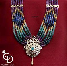 Coffret D'or Bead Jewellery, Pearl Jewelry, Gold Jewelry, Jewelery, Bead Embroidery Tutorial, Beaded Embroidery, Moroccan Jewelry, Indian Jewelry, Pendant Set