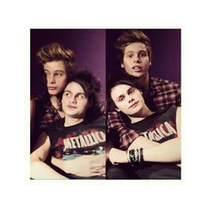 Muke looking adorable 5 ❤ liked on Polyvore featuring 5sos, pictures, 5 seconds of summer, luke hemmings and michael clifford