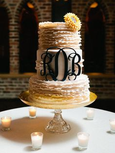 Navy and Gold, Sunflower themed wedding - Cake, Candles, Monogram