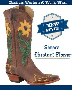 Chestnut Snip Toe Western Boots, Featuring a 11' leather top, with yellow and green flower design print embroidrey on the top. Pull straps for easy on access. Wooden cowboy heel and sole.