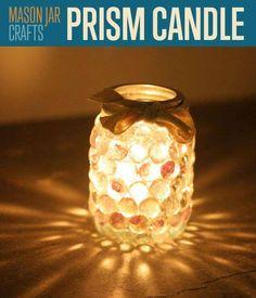 Deko-Kerzenhalter selber machen, Prisma Kerzenhalter, Glassteine an Einzweckgläser kleben