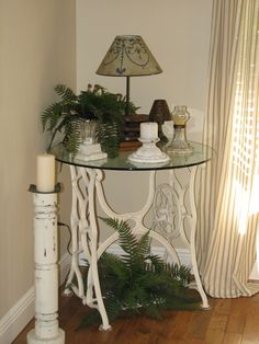 Several cute tables with sewing machine bottoms