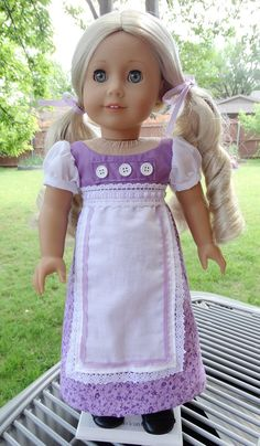 """18"""" Doll Clothes 1800's Regency Gown for Spring Fits American Girl Caroline, Josefina"""